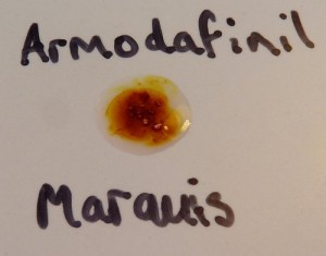 Marquis reaction with Armodafinil (yellow/orange/brown)