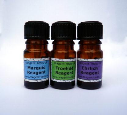 LSD reagent testing kit bottles